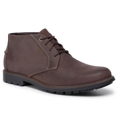 CLARKS Curington Over Dark Brown Lea