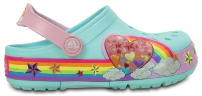 Kids CrocsLights Rainbow Heart Clog